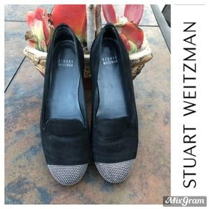 STUART WEITZMAN Black Suede Studded Loafers Sz 7.5